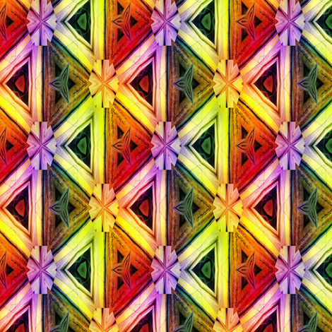 bamboo 10 marquetery triangles gold orange yellow rainbow fabric by paysmage on Spoonflower - custom fabric