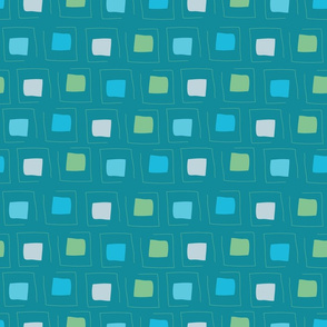 Tiny Pattern Squares Dream of Blue Dark