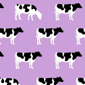 (med scale) cows on purple - farm fabric C18BS