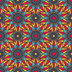 Indian Geometric Colorful Mandala Ornament