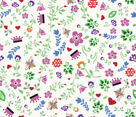 Queen Anne blossoms fabric by lauren_mccrea on Spoonflower - custom fabric