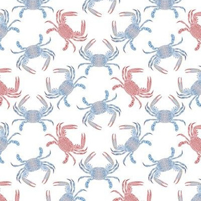 Extra Small Tribal Blue Crab Mixed on White