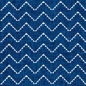 Festival mini chevron blue linen