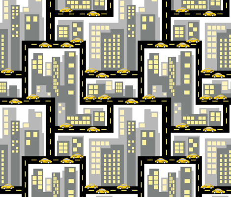 Big City Taxis fabric by new_branch_studio on Spoonflower - custom fabric