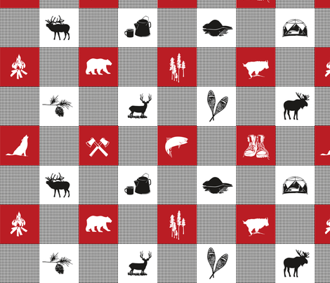 LG Wilderness Buffalo Check Animal RED fabric by outside_the_line on Spoonflower - custom fabric