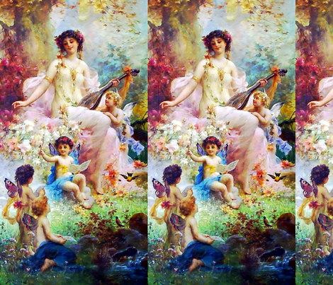 cherubs angels cupid inspired children boys wings pink white flowers floral victorian  beautiful lady nymphs woman gardens music butterfly fairy fairies lute bird autumn leaf leaves plants ponds shabby chic beauty mythology maidens romantic egl elegant go fabric by raveneve on Spoonflower - custom fabric