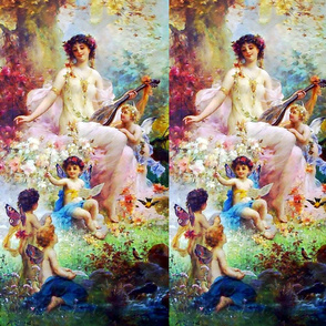 cherubs angels cupid inspired children boys wings pink white flowers floral victorian  beautiful lady nymphs woman gardens music butterfly fairy fairies lute bird autumn leaf leaves plants ponds shabby chic beauty mythology maidens romantic egl elegant go