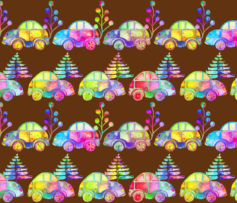 WATERCOLOR PRETTY CARS PROCESSION TRAFFIC ON BROWN fabric by paysmage on Spoonflower - custom fabric