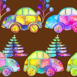 WATERCOLOR PRETTY CARS PROCESSION TRAFFIC ON BROWN