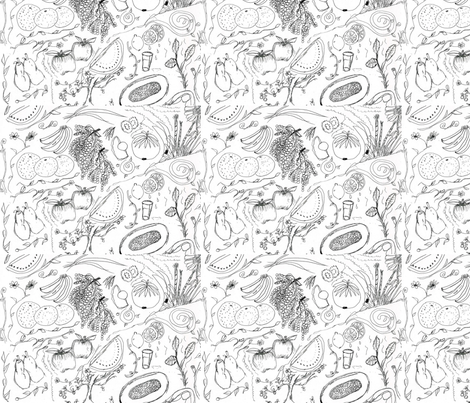 Fruited Coloring page fabric by glendat on Spoonflower - custom fabric