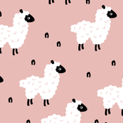 Cute little counting sheep kids sweet dreams good night pattern pink girls