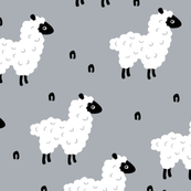Cute little counting sheep kids sweet dreams good night pattern blue gray