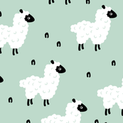 Cute little counting sheep kids sweet dreams good night pattern mint gender neutral