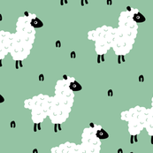 Cute little counting sheep kids sweet dreams good night pattern mint gender neutral green