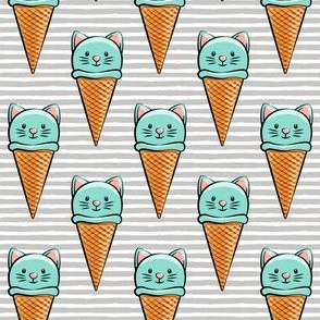 cute cat icecream cones - teal with grey stripes