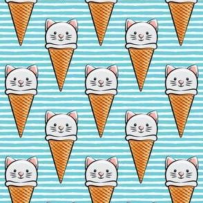 cute cat icecream cones - blue stripes