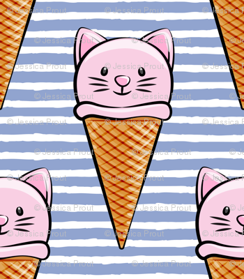 cute cat icecream cones - pink with stripes