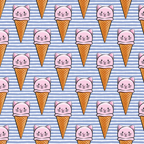 cute cat icecream cones - pink with stripes fabric by littlearrowdesign on Spoonflower - custom fabric