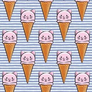 cute cat icecream cones - pink with stripes