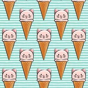 cute cat icecream cones - pink with dark aqua stripes