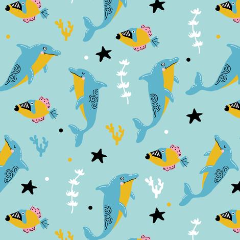 Ocean dancing fabric by yuliia_studzinska on Spoonflower - custom fabric
