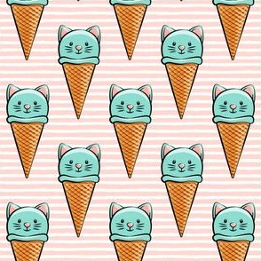 cute teal cat icecream cones on pink stripes