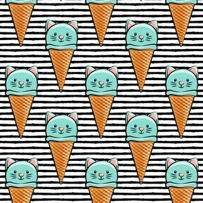 cute teal cat icecream cones on black stripes