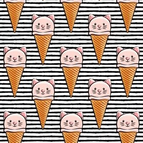 cute cat icecream cones - pink on black stripes