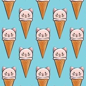 cute cat icecream cones - pink on light blue