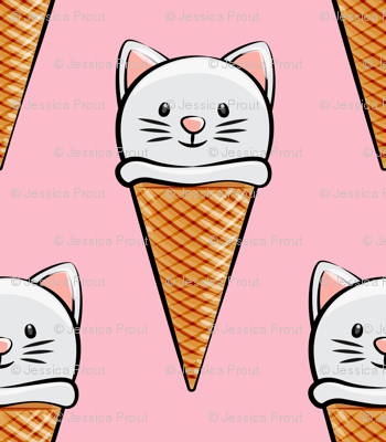 cute cat icecream cones on pink