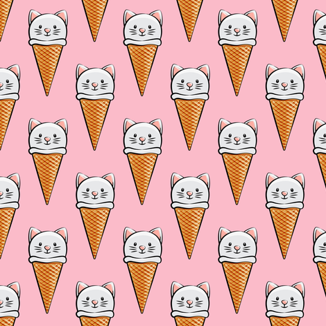 cute cat icecream cones on pink fabric by littlearrowdesign on Spoonflower - custom fabric