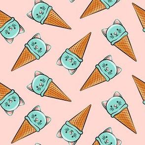 cute teal cat icecream cones - toss on pink