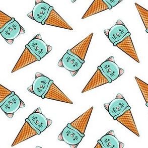 cute teal cat icecream cones - toss
