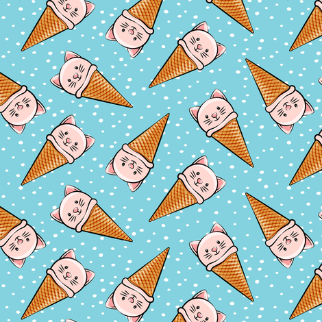 cute pink cat icecream cones - toss with dots on blue fabric by littlearrowdesign on Spoonflower - custom fabric
