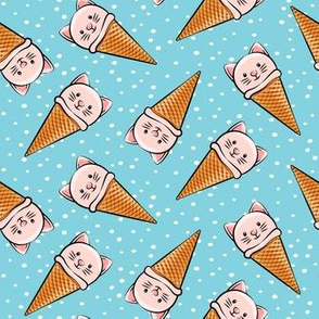 cute pink cat icecream cones - toss with dots on blue