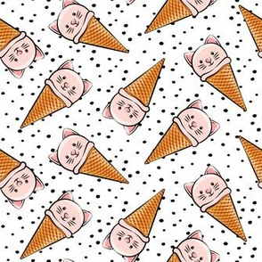 cute pink cat icecream cones - toss with black dots