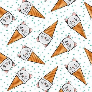 cute cat icecream cones - toss with teal dots