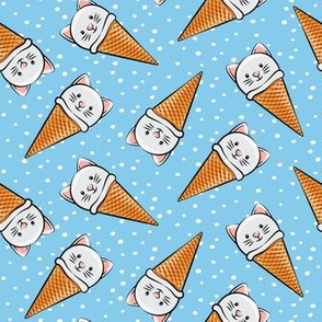 cute cat icecream cones - toss on blue with dots
