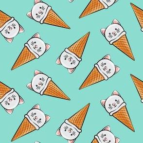 cute cat icecream cones - toss on teal