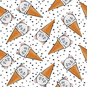 cute cat icecream cones - toss with black dots