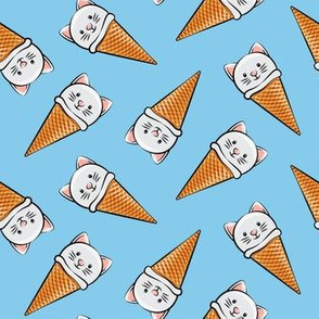 cute cat icecream cones - toss on blue