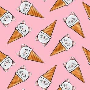 cute cat icecream cones - toss on pink