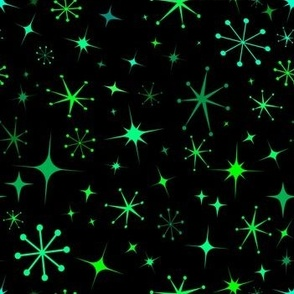 Atomic Starry Night in Neon Green Glow + Black
