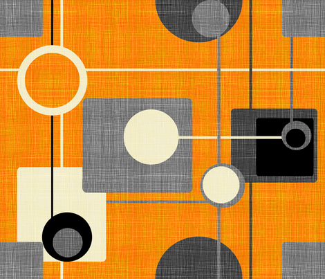 orbs and squares orange and gray fabric by chicca_besso on Spoonflower - custom fabric