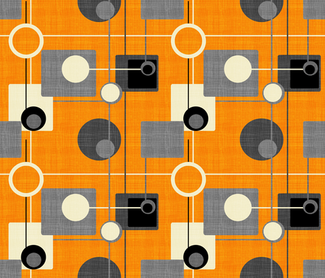 orbs and squares orange and gray150 fabric by chicca_besso on Spoonflower - custom fabric