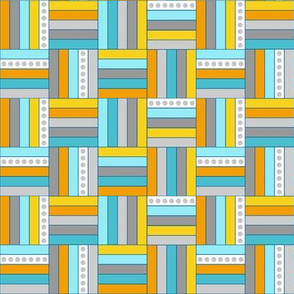 Quilt Squares in Gray, Aqua, Yellow Basketweave by Amborela