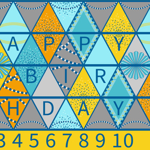 Bunting, Happy Birthday Flags in Yellow and Aqua