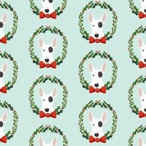 bull terrier  christmas wreath dog breed holiday fabrics blue