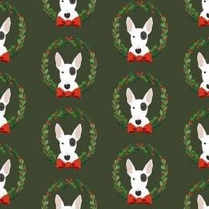 bull terrier  christmas wreath dog breed holiday fabrics green