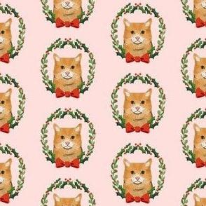 cat orange tabby christmas wreath pet holiday fabrics pink